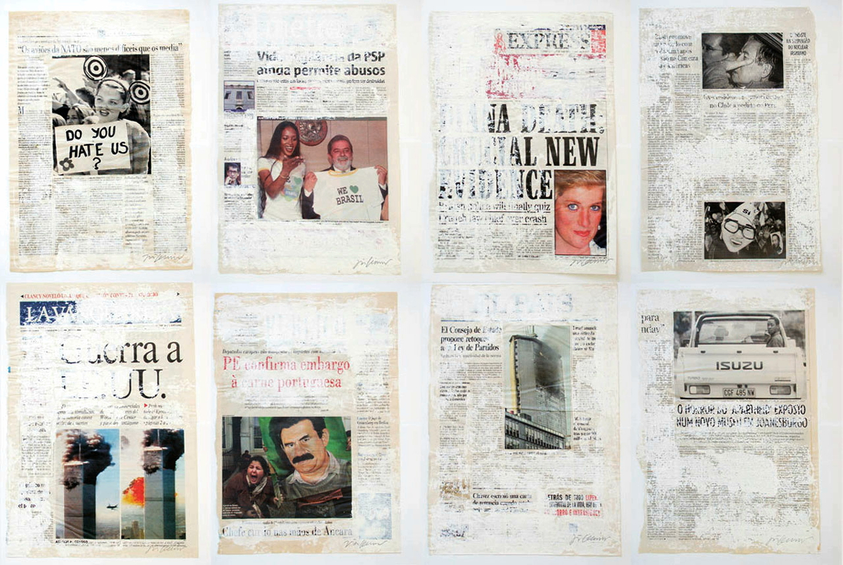 Joao Felino, Essais Dattées, acrylic on newspaper paper, variable dimensions  according to the original newspaper page format, 1989-        .
